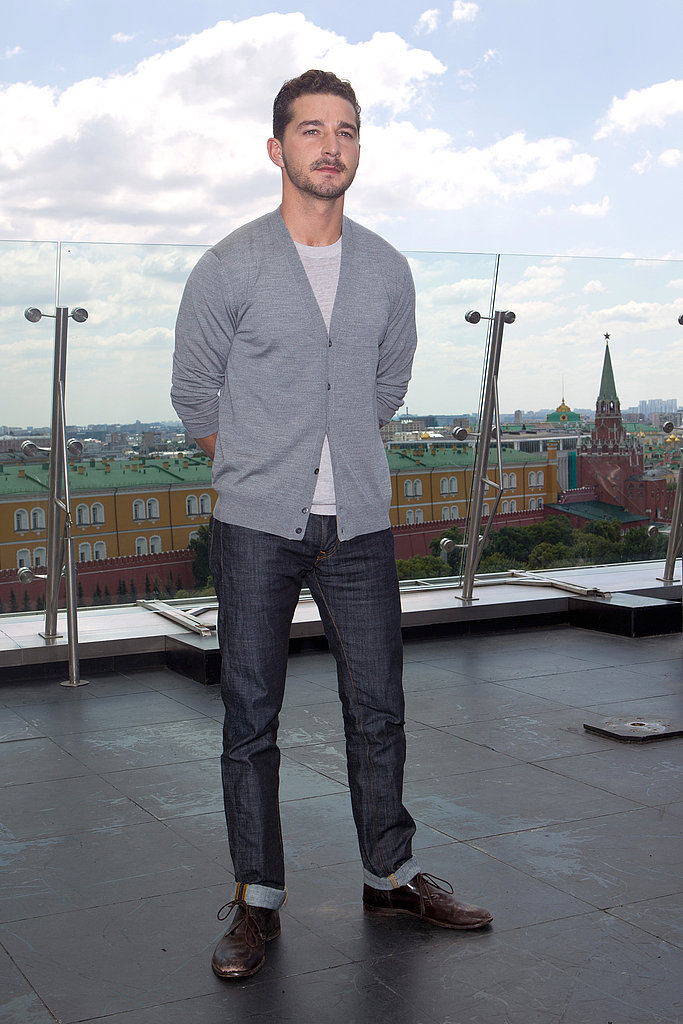 Shia LaBeouf posed solo in a gray sweater in Moscow.