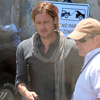 Pictures of Brad Pitt on World War Z Set