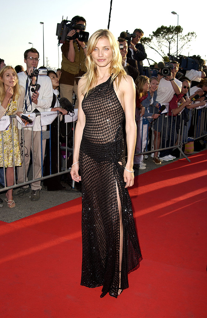 A total peekabook effect in a sparkly, sheer gown on the red carpet at Cannes in 2002.