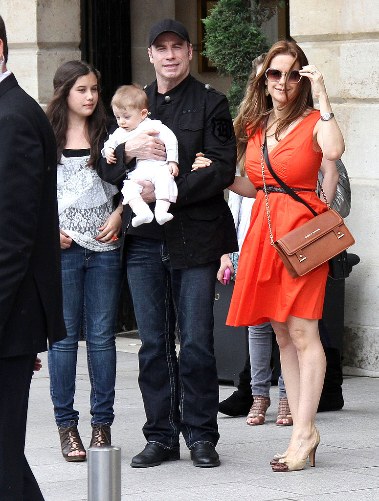 John Travolta and Kelly Preston on vacation in Paris.