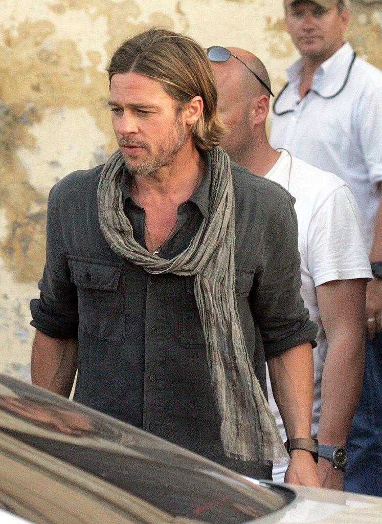 Brad Pitt wore his hair down in Malta.