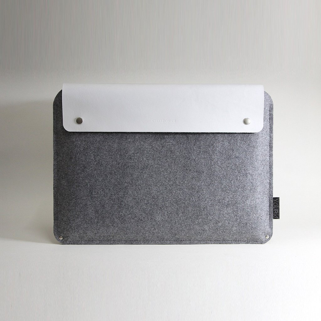 iWant: White Leather and Wool Laptop Sleeve