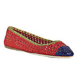 Prada Red Tri-Color Woven Leather Ballet Flats, $360