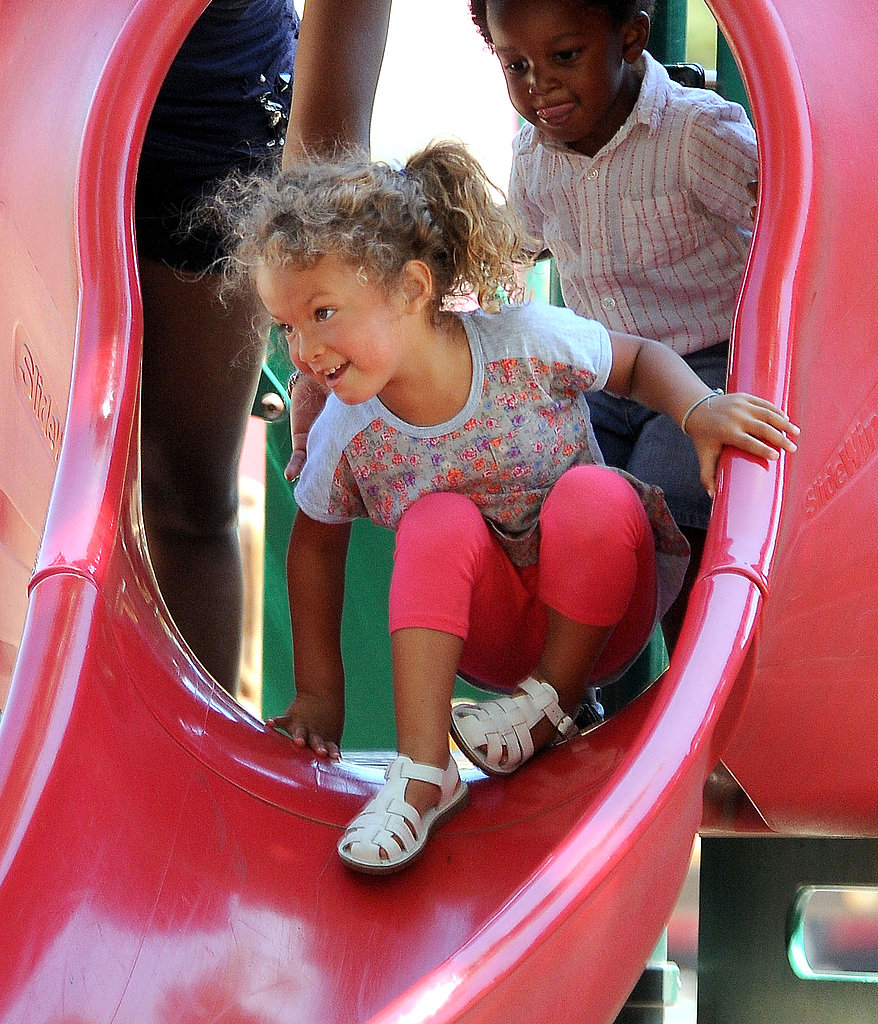 Nahla Aubry went down the slide.