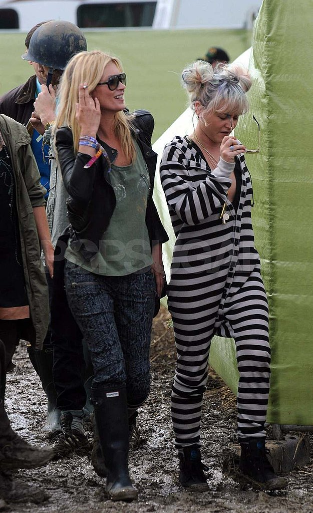 Kate Moss stepped out with a friend at Glastonbury.