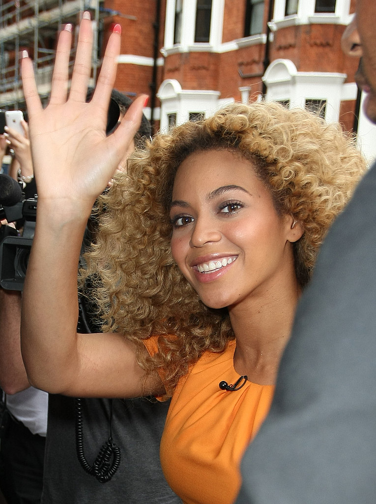 Beyoncé Knowles waved at her fans in London.