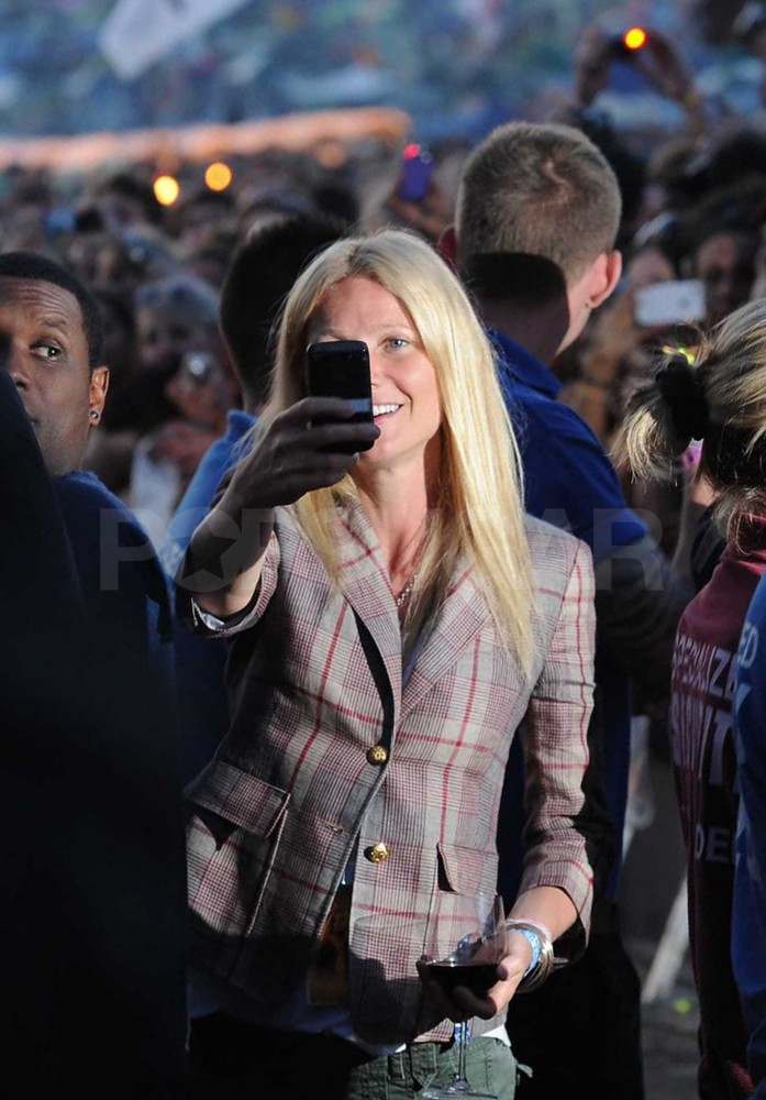 Gwyneth Paltrow watching Beyoncé perform at Glastonbury.