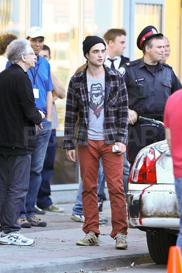 Robert Pattinson Goes Casual in His Red Pants on the Set of Cosmopolis