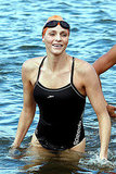 Charlene Wittstock, the future Princess of Monaco and former Olympic swimmer, participates in a swim to raise money for Special Olympics.
