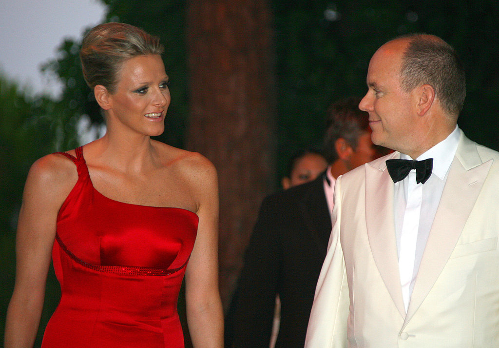 Wearing a red dress, Charlene Wittstock attends the Red Cross Gala in 2009.