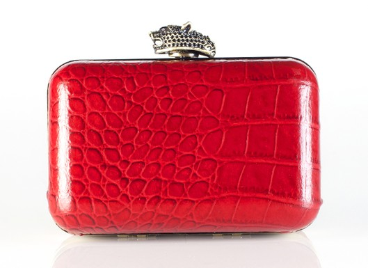 Olivia Clutch in Red Croco, $195