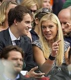 Chelsy Davy watched a match at Wimbledon with a mystery man.