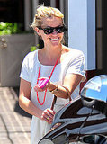 Reese Witherspoon went for a pop of pink while she shopped at Brentwood Country Mart.