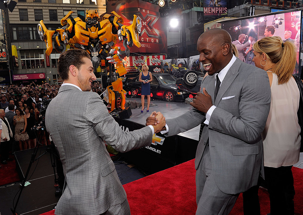 """Thrilled"" Shia Debuts Transformers With Patrick, Josh, Tyrese, and Running-in-Heels Expert Rosie"