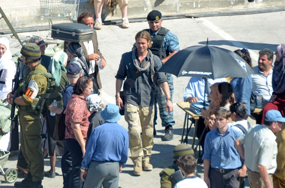 Brad Pitt joined the crew in the desert of Malta.