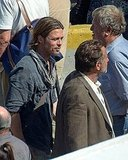 Brad Pitt wasn't fazed by the sun beating down from above.