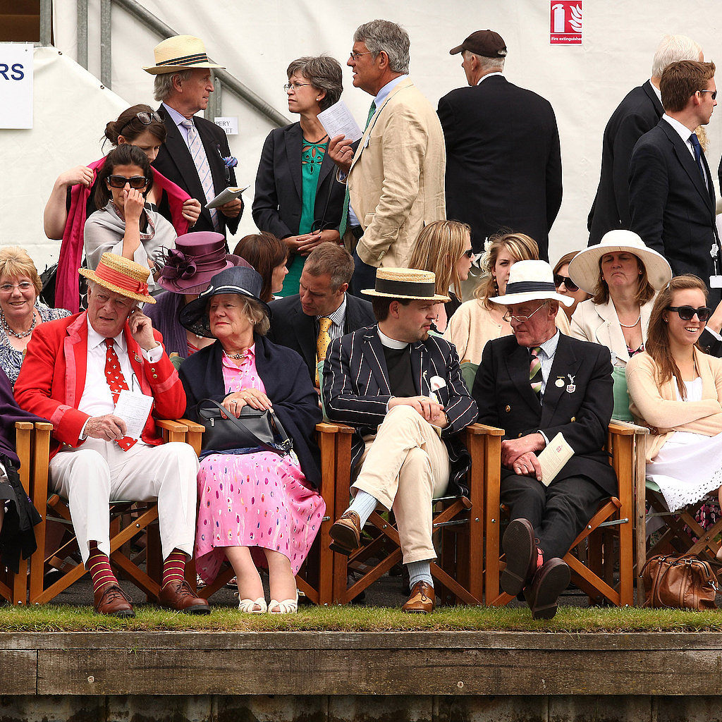 Spectators from the Members Grandstand watch the regatta.
