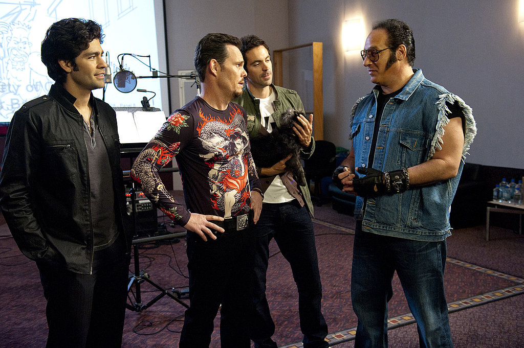 Adrian Grenier as Vincent Chase, Kevin Dillon as Johnny Drama, Rhys Cairo as Billy Walsh, and Andrew Dice Clay, Entourage season eight.