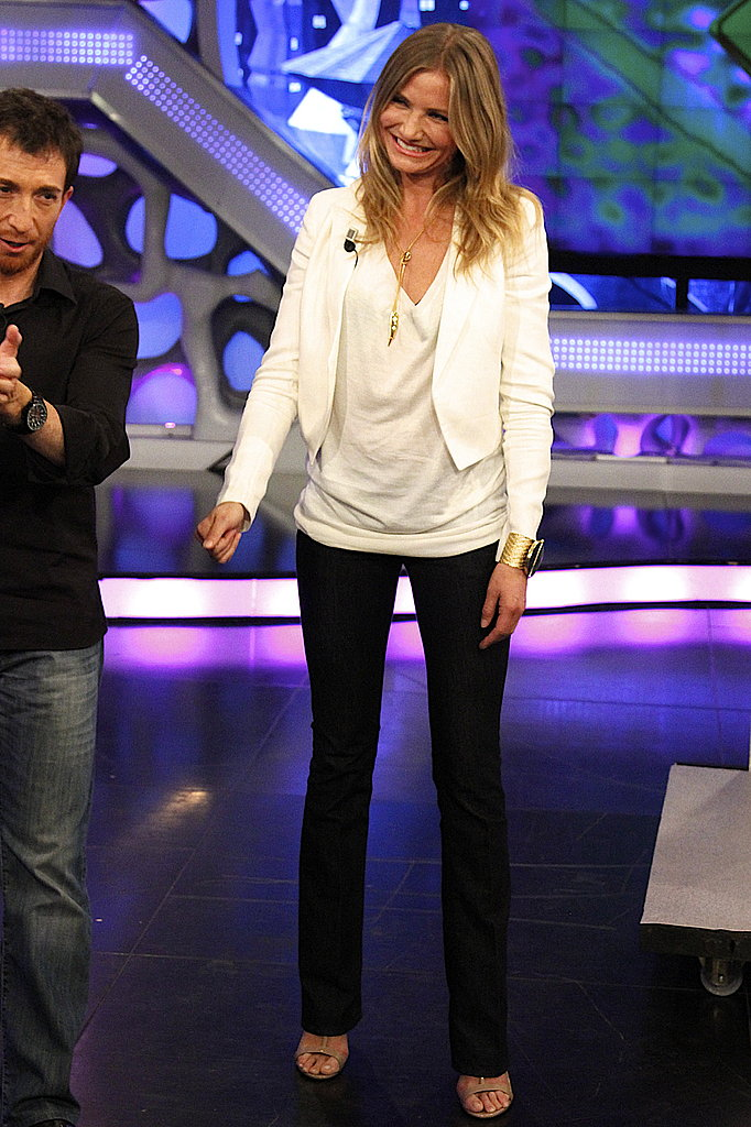 Cameron Diaz wore a white top on El Hormiguero.