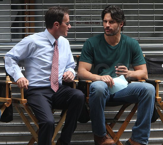 Joe Manganiello and Tim DeKay chatted between scenes.