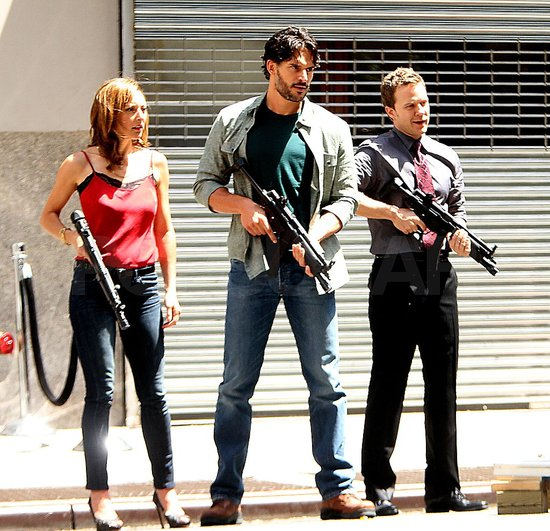 Joe Manganiello carried a large gun.