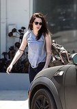 Kristen Stewart got into her Mini Cooper after yoga class in LA.