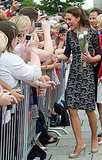 Kate Middleton accepted flowers and greeted fans in Canada.