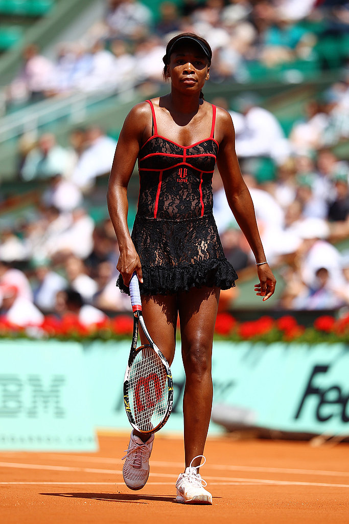 At the French US Open 2010, Venus Williams wore a racy red and black corset inspired outfit.