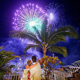 Electric blue fireworks shined at this Puerto Vallarta, Mexico, wedding. Photo by Michelle Turner via Style Me Pretty