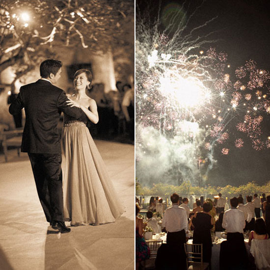 Guests were treated to a fireworks display at this wedding in Bali, Indonesia. Photo by Aaron Delesie via Once Wed