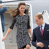 Kate Middleton's prince charming looks back to make sure she gets down from the plane safely.