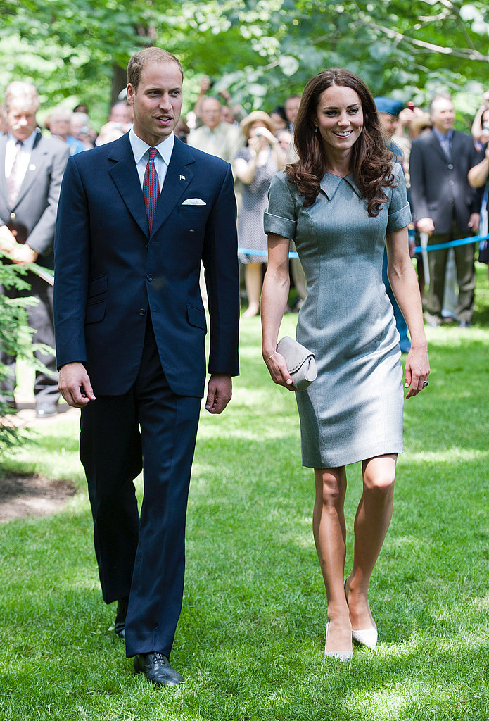 "July 2nd, 2011 Arriving at a tree planting ceremony in Ottawa, Canada.   Kate wears a grey Catherine Walker ""Kensington"" dress, grey Tabitha Simmons pumps, and a small clutch by Hobbs. Catherine Walker was one of Princess Diana's favorite designers."