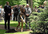The duke and duchess help to plant a tree next to the one planted by the prince and the princess of Wales in 1983.
