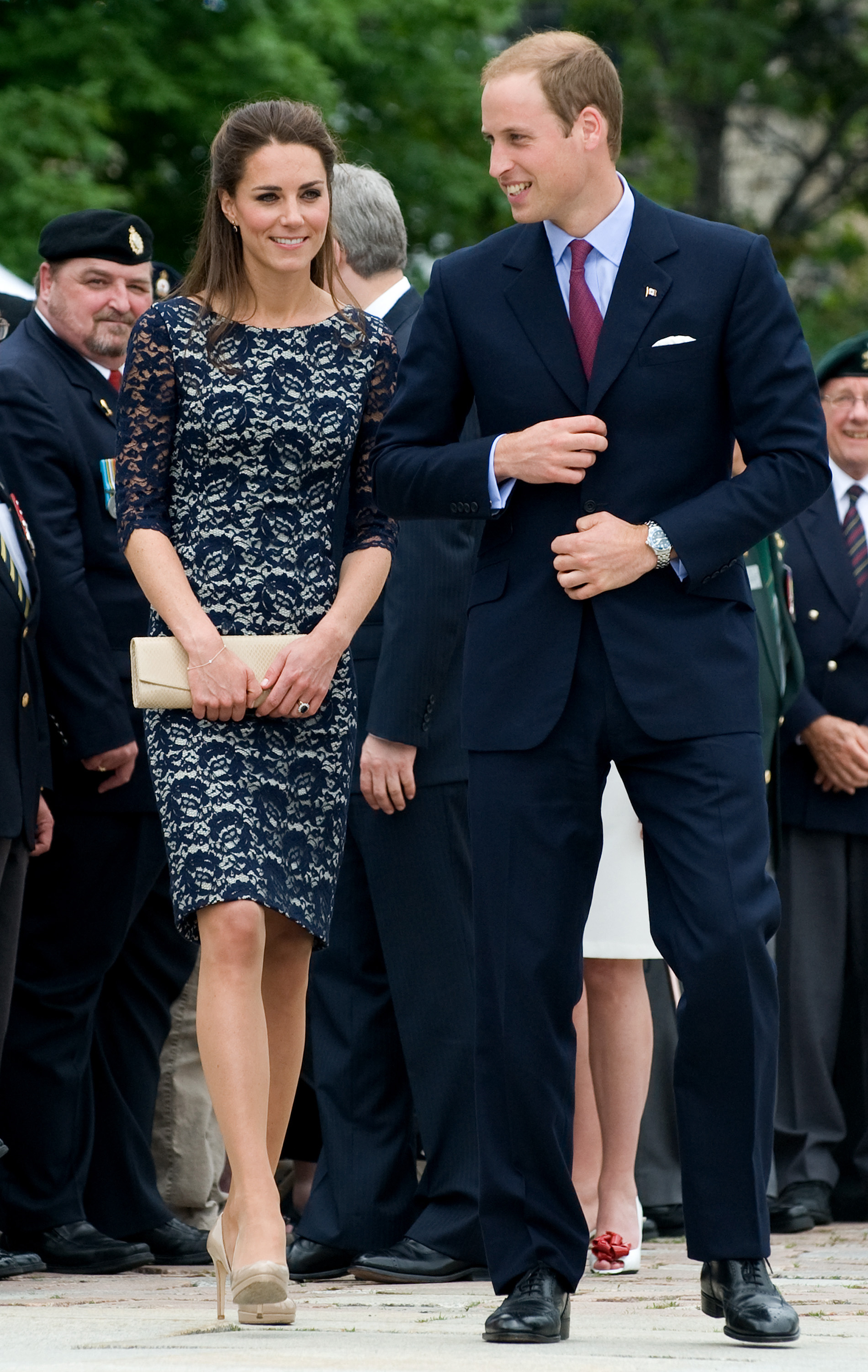 June 30th, 2011 Kate and William arrive in Ottawa for a wreath-laying ceremony at the National War Memorial.   Kate wears an Erdem lace dress, adapted from the Cecile dress