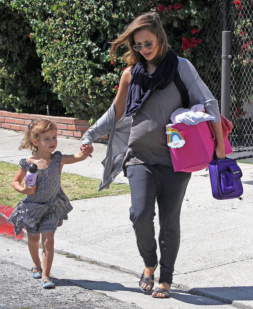 Jessica Alba and her daughter Honor Warren carried a waterbottle and backpack.
