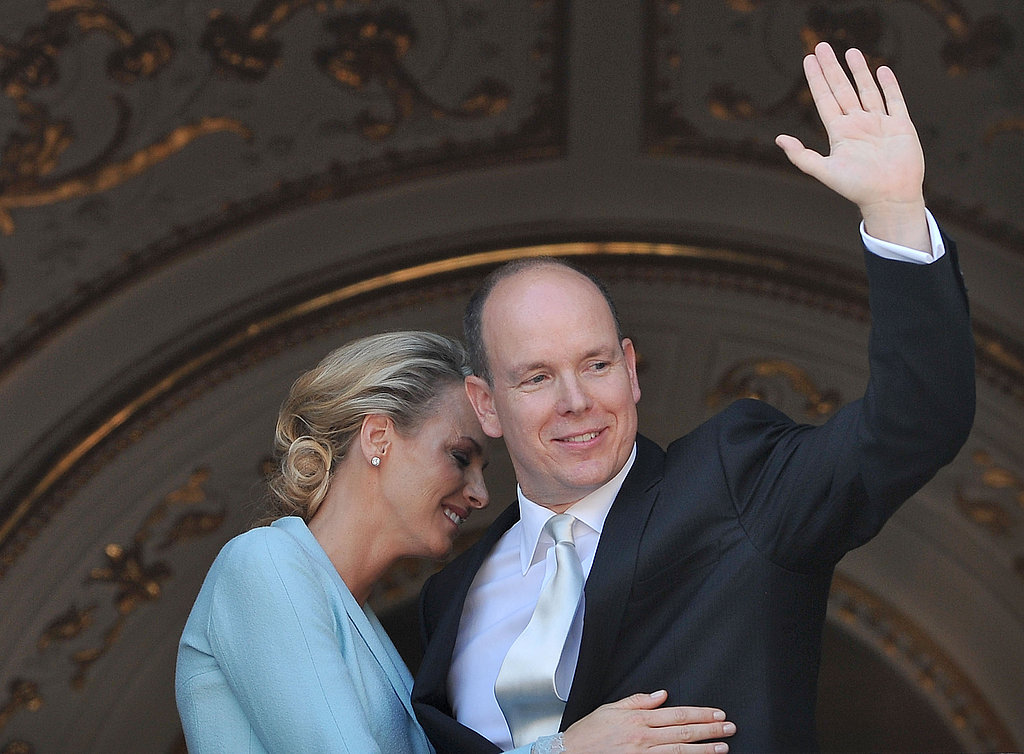 Princess Charlene of Monaco shares an embrace with new hubby Prince Albert II of Monaco.