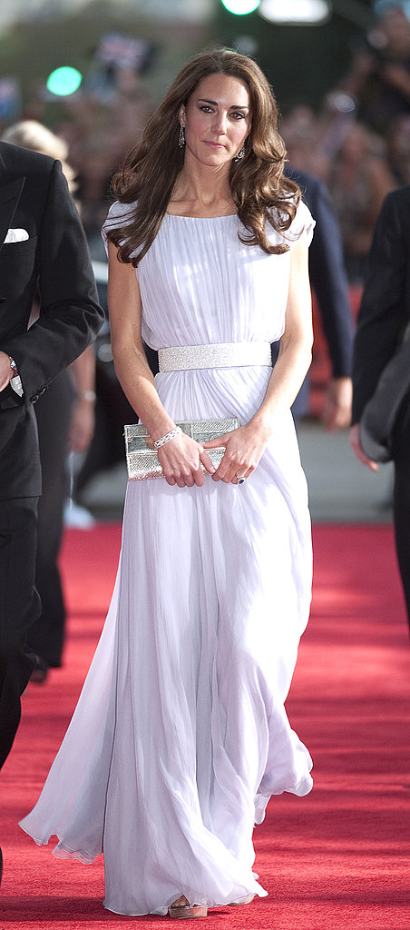 July 9th, 2011 On the red carpet at the BAFTA Brits to Watch event at the Belasco Theatre in Los Angeles, California.   Kate wears a floor-length, softly pleated lilac chiffon gown by Alexander McQueen, Jimmy Choo Vamp sandals, a Jimmy Choo Ubai clutch, and chandelier earrings on loan from the Queen.