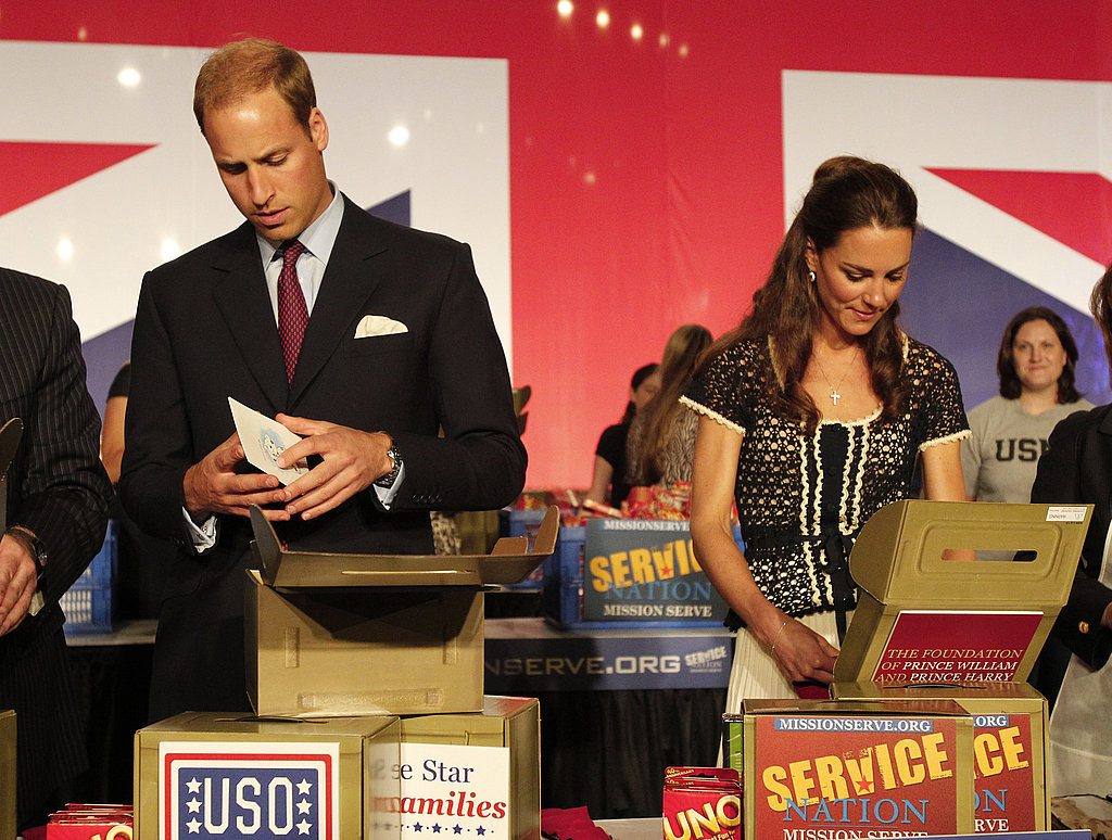 Prince William and Kate Middleton packing care boxes at a ServiceNation: Mission Serve event in LA.