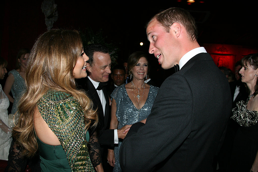 Jennifer Lopez and Prince William at BAFTA Brits to Watch dinner.