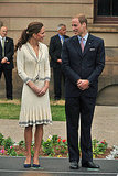 July 4th, 2011 Visiting the Province House in Charlottetown, Prince Edward Island.   Kate wears an Alexander McQueen by Sarah Burton knit sailor dress with navy pumps.