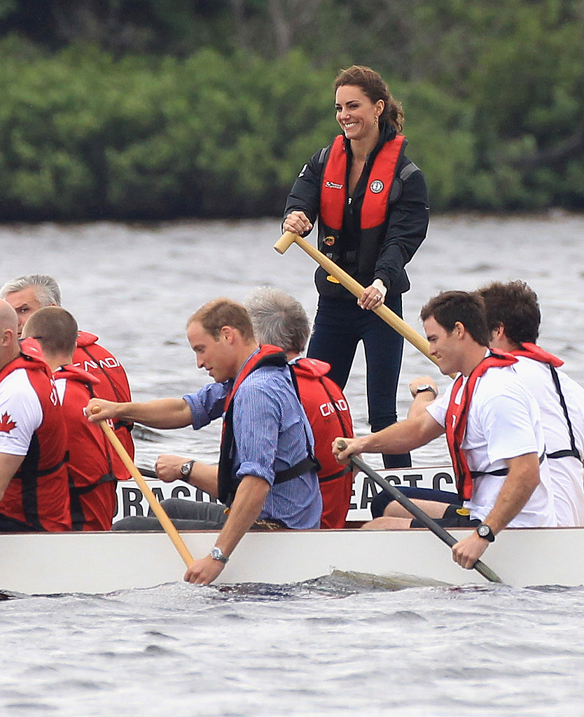 Prince William won the friendly dragon boat race against Kate Middleton.