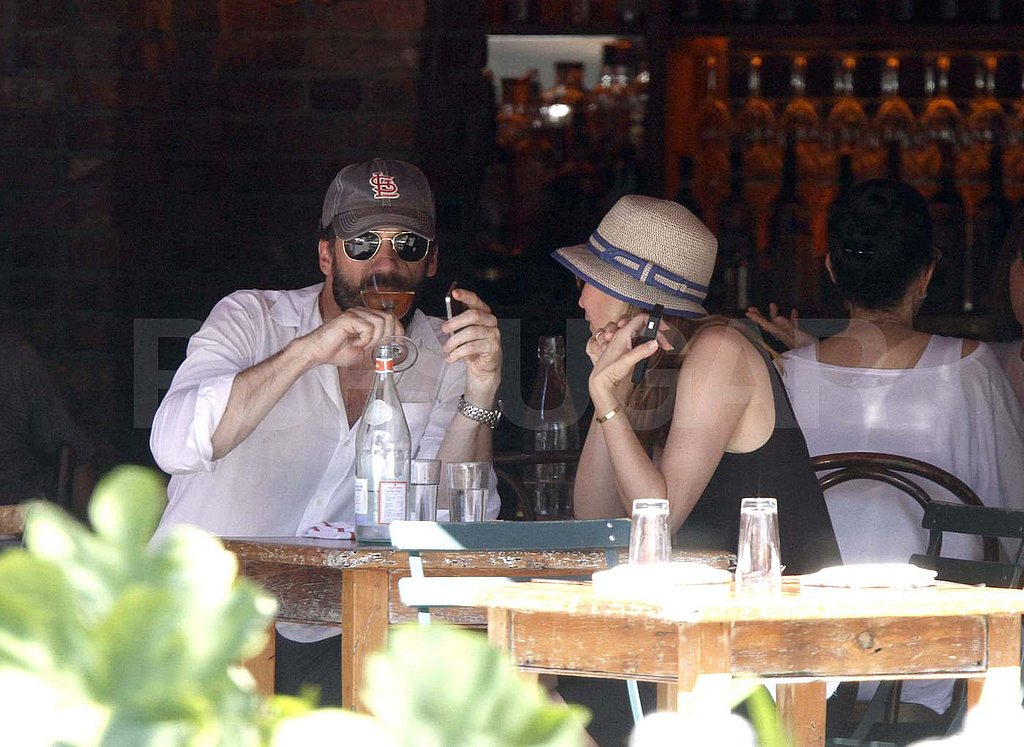 Jon Hamm and Jennifer Westfeldt dine out at Morandi Restaurant.