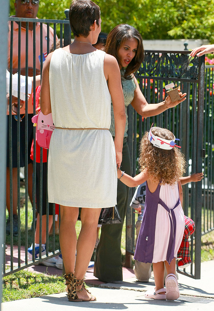 Halle Berry and Nahla Aubry were hand in hand at Nahla's school.
