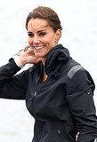 Kate Middleton pulled her hair back.