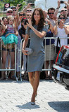 Kate Middleton waved to hundreds of fans.