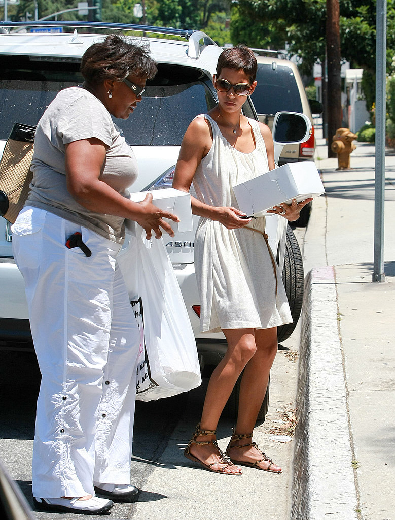 Halle Berry had some help as she made her way to her daughter's school.