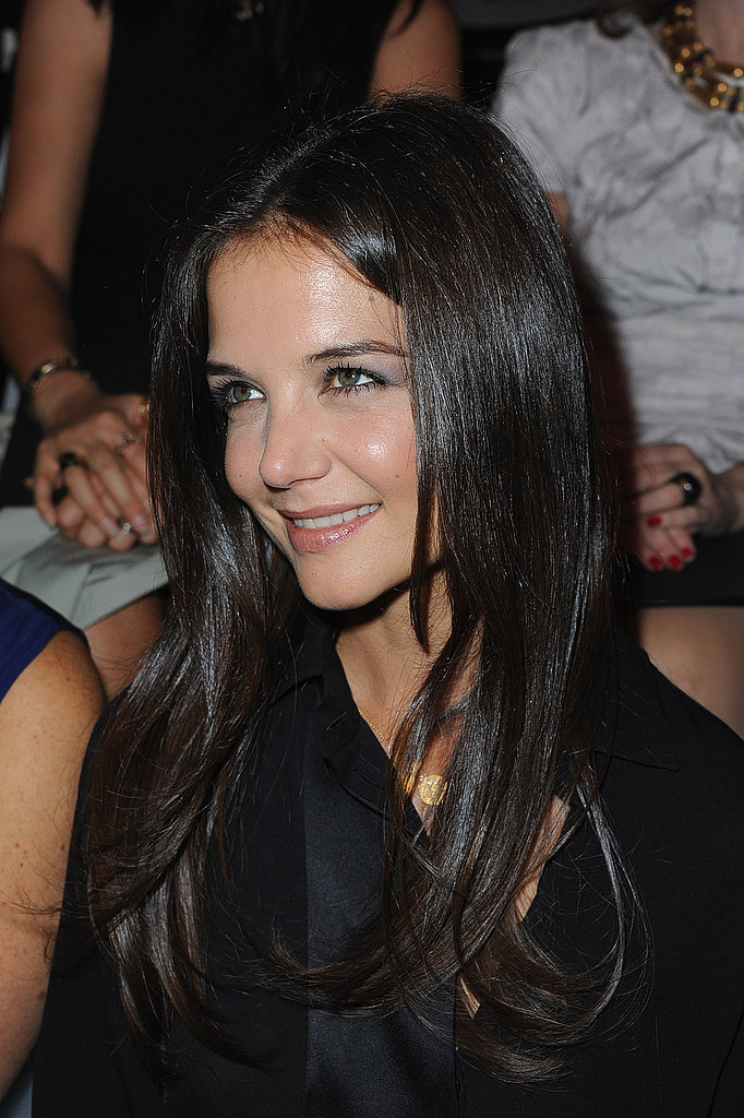Katie Holmes front row at an Armani show.