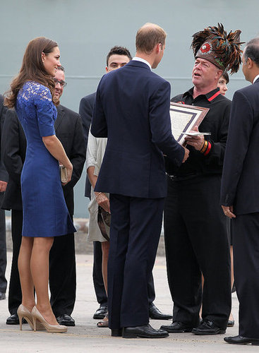 Kate Middleton wore a blue, lace dress during her day with Prince William.