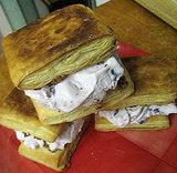 Cherry-puff pastry ice cream sandwiches