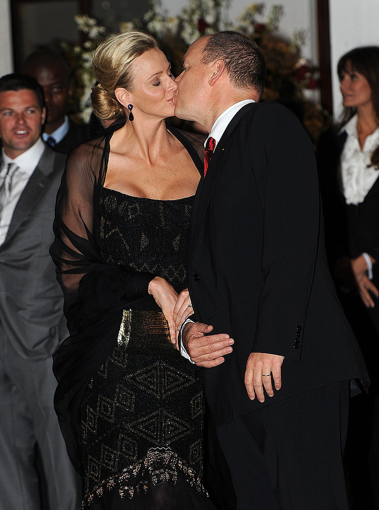 Princess Charlene and Prince Albert shared a sweet kiss.